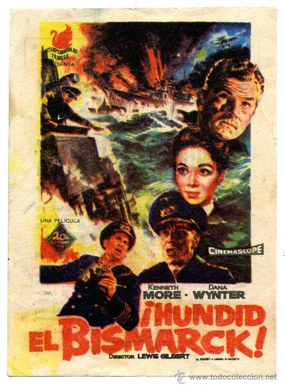 ¡HUNDID EL BISMARCK! CINE CARLOS III DE ALICANTE, 1961 (Cine - Folletos de Mano - Bélicas)