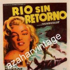 Cine: RIO SIN RETORNO , MARILYN MONROE, AZUL, SENCILLO, SIN PUBLICIDAD, IMPECABLE. Lote 54106255