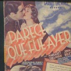 Cine: PARECE QUE FUE AYER PROGRAMA DOBLE UNIVERSAL MARGARET SULLAVAN JOHN BOLES CON PUBLICIDAD. Lote 54132039