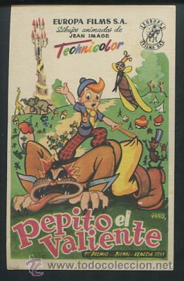 PROGRAMA PEPITO EL VALIENTE - DIBUJOS ANIMADOS DE JEAN IMAGE - CON PUBLICIDAD (Cine - Folletos de Mano - Infantil)