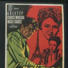 Cine: PROGRAMA LOS PELIGROS DE PARIS (ARLETTY - GEORGES MARCHAL - NICOLE COURCEL - PIERRE DUX). Lote 54142860