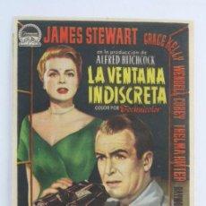 Cine: PROGRAMA DE CINE - LA VENTANA INDISCRETA - ALFRED HITCHCOCK - PUBLICIDAD AL DORSO. Lote 54194493