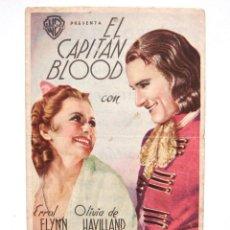 Cine: PROGRAMA SENCILLO *EL CAPITAN BLOOD* ERROL FLYNN OLIVIA DE HAVILLAND. CINE VELASCO ASTORGA LEÓN. Lote 54201707
