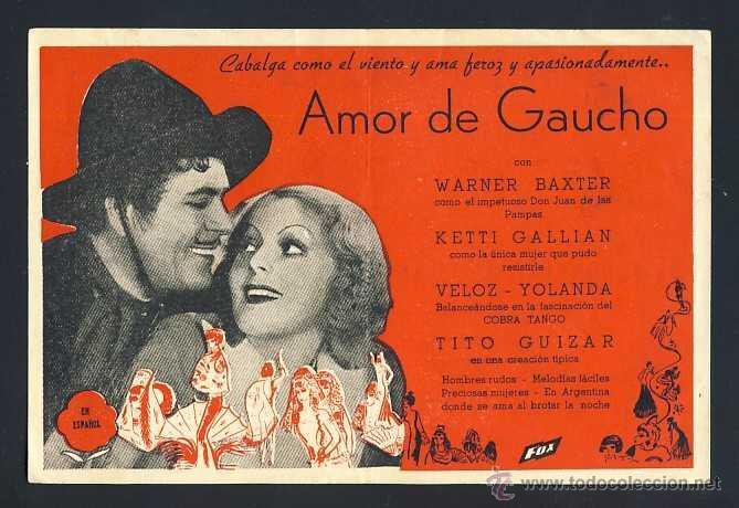 AMOR DE GAUCHO (Cine - Folletos de Mano - Comedia)