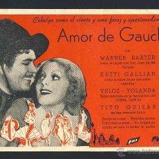 Cine: AMOR DE GAUCHO. Lote 54224517