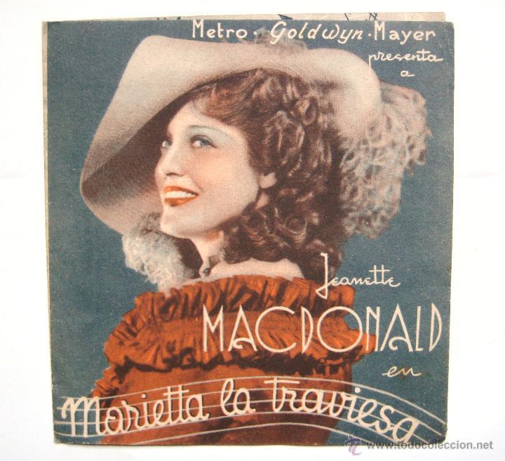 PROGRAMA DOBLE *MARIETTA LA TRAVIESA* 1935 JEANETTE MACDONALD NELSON EDDY. CINE SANTA CRUZ OVIEDO (Cine - Folletos de Mano - Musicales)