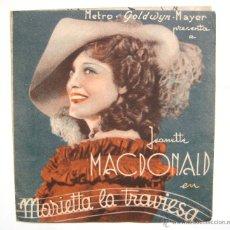 Cine: PROGRAMA DOBLE *MARIETTA LA TRAVIESA* 1935 JEANETTE MACDONALD NELSON EDDY. CINE SANTA CRUZ OVIEDO. Lote 54242721