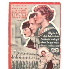 Cine: PROGRAMA DOBLE *MÚSICA Y MUJERES* 1934 RUBY KEELER, DICK POWELL, JOAN BLONDELL. CON PUBLICIDAD. Lote 54242763