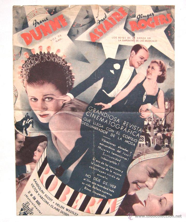 PROGRAMA DOBLE RKO *ROBERTA* 1936 FRED ASTAIRE GINGER ROGERS IRENE DUNNE CINE STA CRUZ OVIEDO (Cine - Folletos de Mano - Musicales)