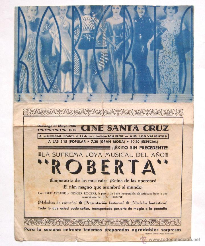 Cine: PROGRAMA DOBLE RKO *ROBERTA* 1936 FRED ASTAIRE GINGER ROGERS IRENE DUNNE CINE STA CRUZ OVIEDO - Foto 2 - 54242852