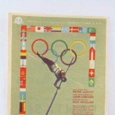 Folhetos de mão de filmes antigos de cinema: PROGRAMA DE CINE - CITA EN MELBOURNE - CLUB JUVENTUD BALONCESTO, BADALONA - CON PUBLICIDAD, AÑO 1958. Lote 54245033