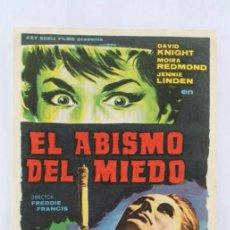 Cine: PROGRAMA DE CINE - EL ABISMO DEL MIEDO - PUBLICIDAD AL DORSO, AÑO 1965. Lote 54245780