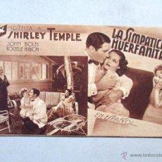 Cine: PROGRAMA DE CINE , TARJETA , FOX - LA SIMPÁTICA HUERFANITA , SHIRLEY TEMPLE . Lote 54255243