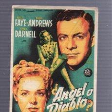 Cine: PROGRAMA DE CINE. ¿ANGEL O DIABLO?. GRAN CINEMA COCA. 1947.. Lote 54261678