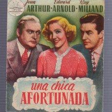 Foglietti di film di film antichi di cinema: PROGRAMA DE CINE. UNA CHICA AFORTUNADA. IDEAL CINEMA PREFERENCIA.. Lote 54261827