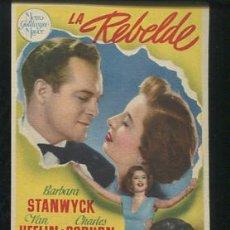 Cine: PROGRAMA LA REBELDE- BARBARA STANWYCK-CON PUBLICIDAD. Lote 54388309