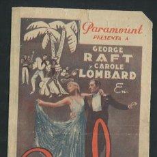 Cine: RUMBA PROGRAMA DOBLE PARAMOUNT GEORGE RAFT CAROLE LOMBARD. Lote 54389618