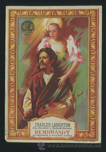 PROGRAMA REMBRANDT - CHARLES LAUGHTON, ELSA LANCHESTER (Cine - Folletos de Mano - Drama)