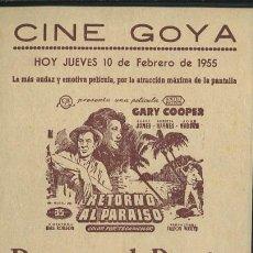 Cine: PROGRAMA RETORNO AL PARAISO (GARY COOPER - BARRY JONES - ROBERTA HAYNES) CON PUBLICIDAD. Lote 54634362
