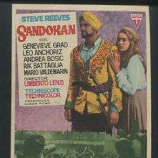 Cine: PROGRAMA SANDOKAN (STEVE REEVES - GENEVIÈVE GRAD) CON PUBLICIDAD. Lote 54634390