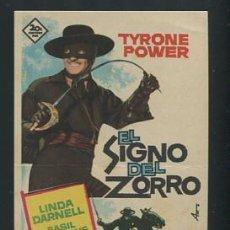 Cine: PROGRAMA EL SIGNO DEL ZORRO TYRONE POWER BASIL RATHBONE Y LINDA DARNELL CON PUBLICIDAD. Lote 54425628