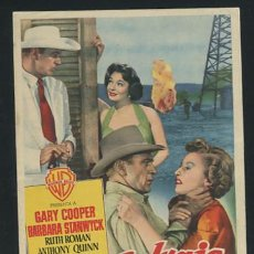 Cine: PROGRAMA SOPLO SALVAJE CON GARY COOPER, BARBARA STANWYCK,RUTH ROMAN Y ANTHONY QUINN. Lote 54428893