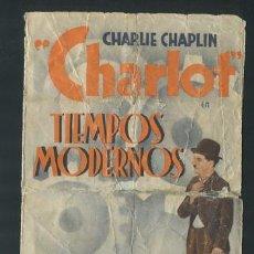 Cine: TIEMPOS MODERNOS PROGRAMA ORIGINAL DOBLE ESPAÑOL CHARLES CHAPLIN CON PUBLICIDAD. Lote 54437630