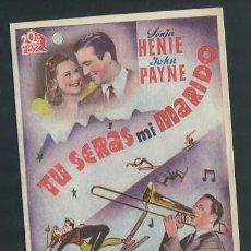 Cine: PROGRAMA TU SERAS MI MARIDO (DOBLE) (SONJA HENIE - JOHN PAYNE - GLENN MILLER) CON PUBLICIDAD. Lote 54437667