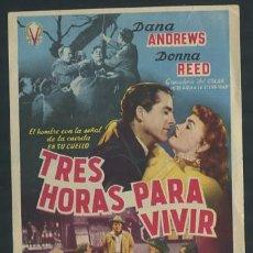 Cine: PROGRAMA TRES HORAS PARA VIVIR - DANA ANDREWS, DONNA REED. Lote 54437679