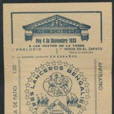 Cine: PROGRAMA TRES LANCEROS BENGALÍES - GARY COOPER, FRANCHOT TONE - PUBLICIDAD. Lote 54440148