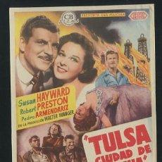 Folhetos de mão de filmes antigos de cinema: PROGRAMA TULSA CIUDAD DE LUCHA (SUSAN HAYWARD - ROBERT PRESTON) CON PUBLICIDAD. Lote 54440308