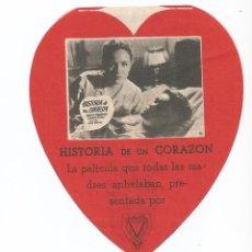 Cine: HISTORIA DE UN CORAZÓN - DOBLE TROQUELADO - CON PUBLICIDAD. Lote 54528608