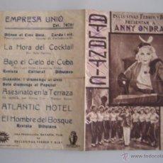 Cine: ATLANTIC HOTEL FOLLETO DE MANO ORIGINAL ESTRENO CON CINE IMPRESO. Lote 54574758