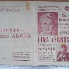 Cine: FOLLETO DE MANO LOCAL (SOBRE 1934) - LA ESTRELLA SE CASA -CUESTA ABAJO. Lote 54613150