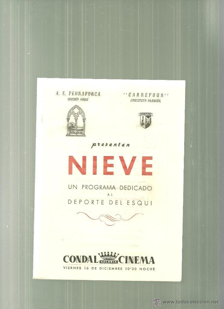 2260.-NIEVE-UN PROGRAMA DEDICADO AL DEPORTE DEL ESQUI-CONDAL CINEMA-FOLLETO DE MANO (Cine - Folletos de Mano - Documentales)