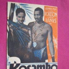 Cine: BOSAMBO PAUL ROBESON PROGRAMA DE CINE DOBLE AÑOS 30. EXCELENTE ESTADO.. Lote 54629377