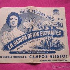 Cine: LA SENDA DE LOS ELEFANTES TAYLOR ANDREWS PROGRAMA DE CINE AÑOS 40 CON PUBLICIDAD CINE MUY RARO.. Lote 54630646