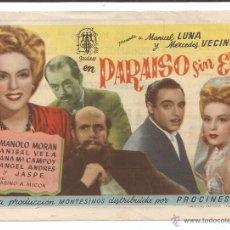 Cine: EL PARAÍSO SIN EVA - SENCILLO PROCINES - CON PUBLICIDAD. Lote 54648384