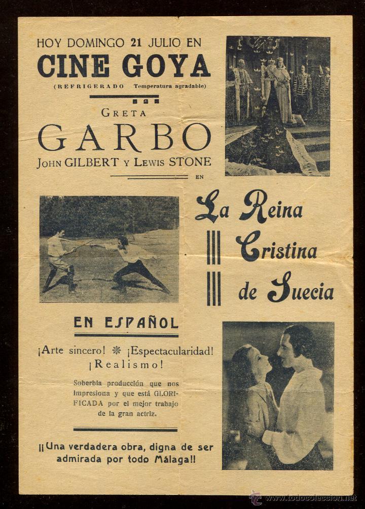 PROGRAMA LA REINA CRISTINA DE SUECIA - GRETA GARBO JOHN GILBERT !!! (Cine - Folletos de Mano - Aventura)