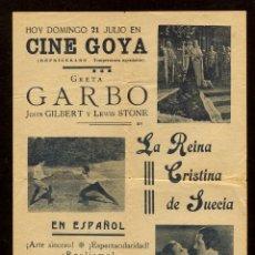Cine: PROGRAMA LA REINA CRISTINA DE SUECIA - GRETA GARBO JOHN GILBERT !!!. Lote 54761818