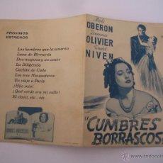 Cine: CUMBRES BORRASCOSAS MERLE OBERON LAURENCE OLIVIER FOLLETO DE MANO ORIGINAL ESTRENO PERFECTO ESTADO. Lote 54824813