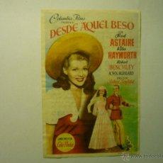 Cine: PROGRAMA DESDE AQUEL BESO-FRED ASTAIRE -R-HAYWORTH-PUBLICIDAD. Lote 54867014