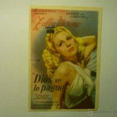 Cine: PROGRAMA DIOS SE LO PAGUE- ZULLY MORENO-PUBLICIDAD. Lote 80688148