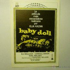 Flyers Publicitaires de films Anciens: PROGRAMA BABY DOLL- ELI WALLACH-CARROL BAKER. Lote 200747922