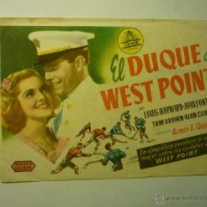 Cine: PROGRAMA EL DUQUE DE WEST POINT.-LOUIS HAYWARD PUBLICIDAD CERVANTES.-CEUTA. Lote 54874159
