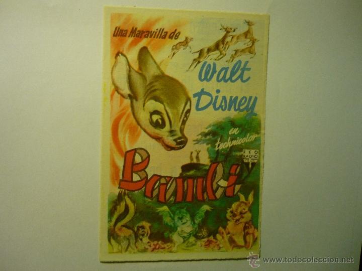 PROGRAMA BAMBI--DISNEY PUBLICIDAD (Cine - Folletos de Mano - Infantil)