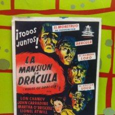 Cine: LA MANSION DE DRACULA PROGRAMA SENCILLO CIFESA LON CHANEY JR. JOHN CARRADINE A. Lote 54952936
