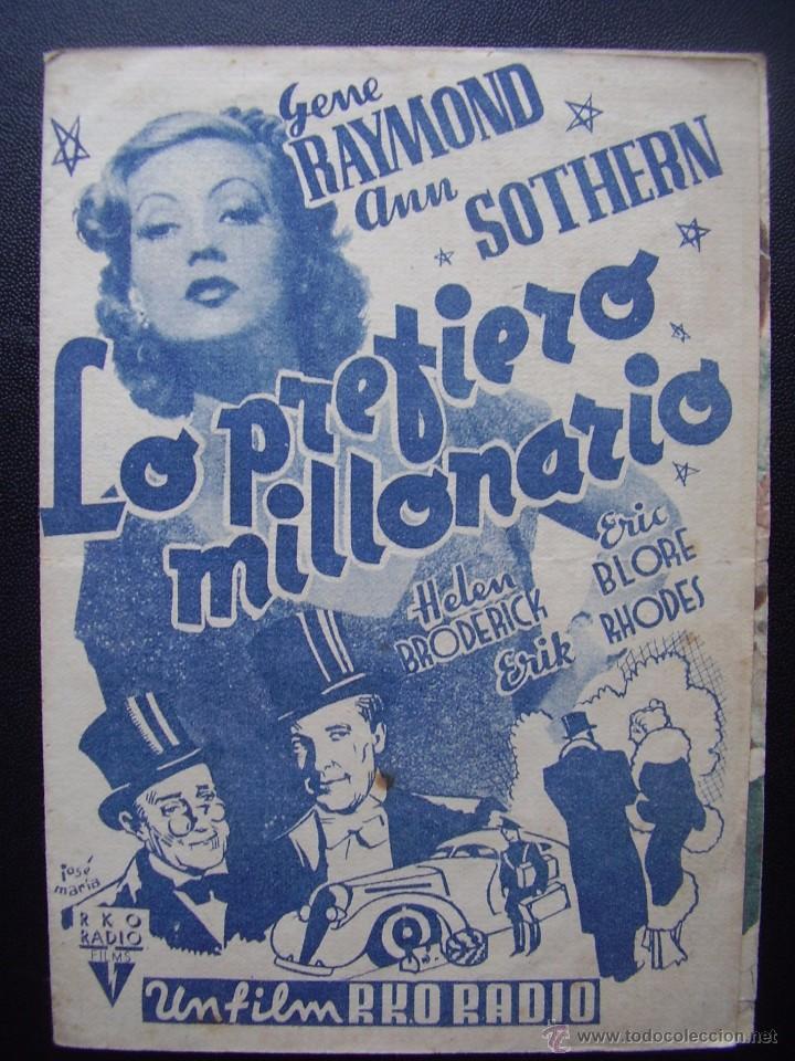 LO PREFIERO MILLONARIO, GENE RAYMOND, ANN SOTHERN (Cine - Folletos de Mano - Comedia)