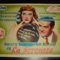 Cine: LA PITONISA. PAULETTE GODDARD,RAY MILLAND.SIN PROPAGANDA. Lote 55045619