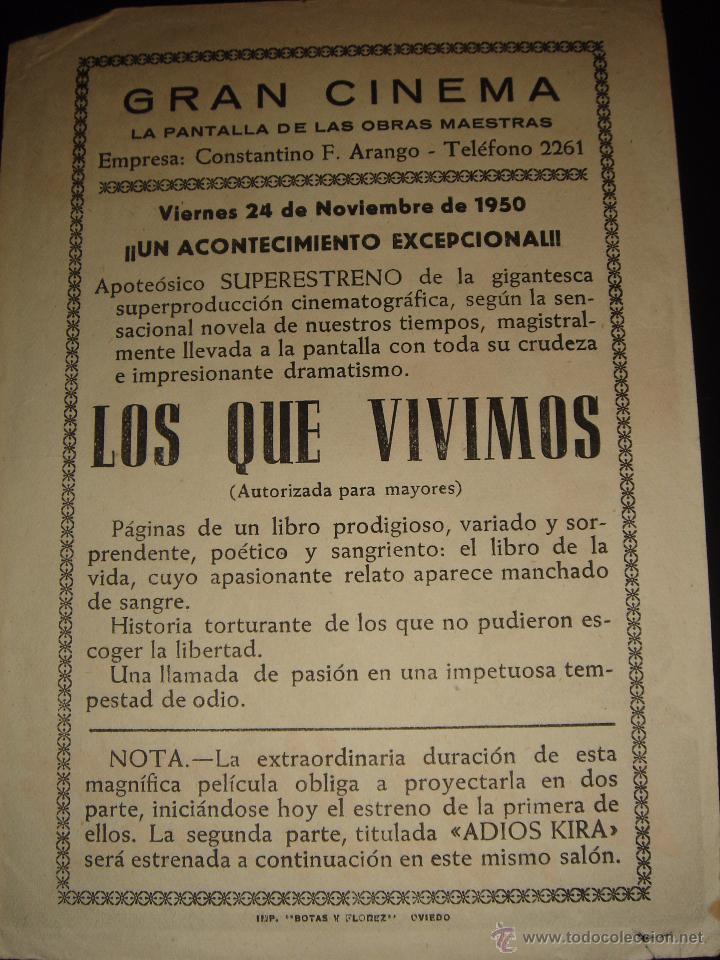 Cine: LOS QUE VIVIMOS Y ADIOS KIRA! ALIDA VALLI,ROSSANO BRAZZI.GRAN CINEMA ,OVIEDO 1950 - Foto 2 - 55046802
